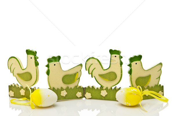 Stock photo: green easter chickens