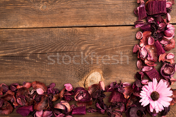 dried flowers on the wooden old table Stock photo © tarczas