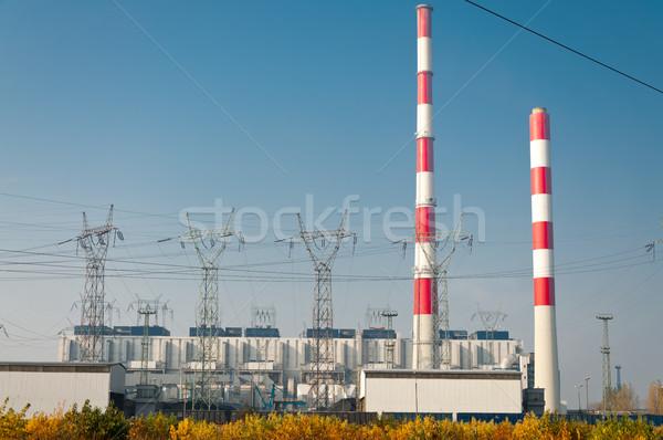 Erőmű távvezeték gyár energia növény torony Stock fotó © tarczas