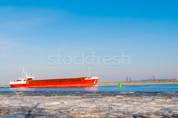 big container ship entering the port Stock photo © tarczas