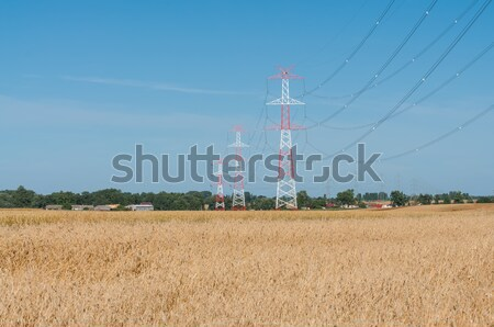 Stock photo: Pylon and transmission power line