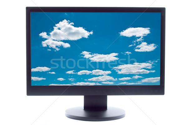 blue sky and clouds on TV screen Stock photo © tarczas