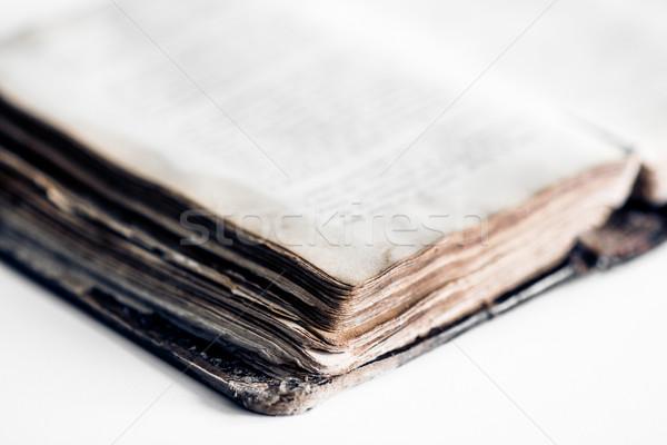 Libro viejo cuero cubrir libro blanco Foto stock © tarczas