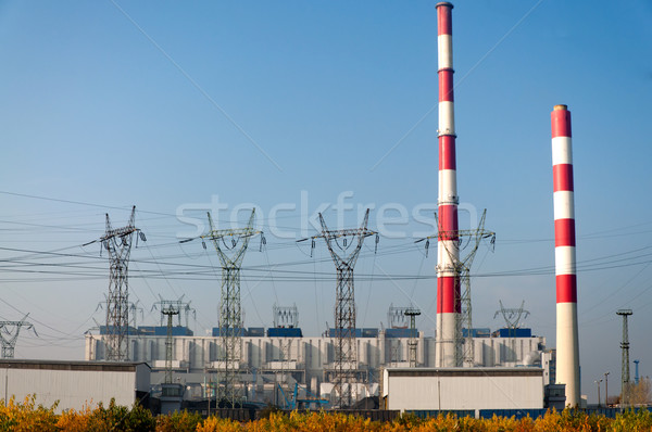 power plant pylons and power lines Stock photo © tarczas