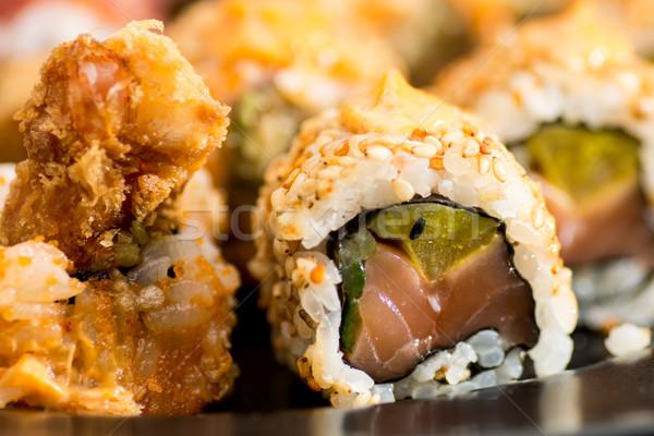 Różny toczyć sushi tablicy asia łososia Zdjęcia stock © tarczas