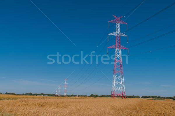 Pylon and transmission power line Stock photo © tarczas