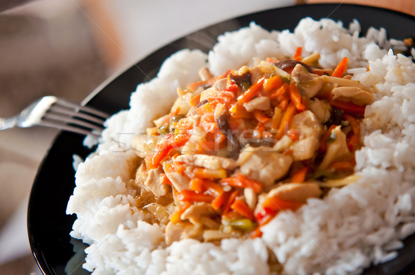 Foto stock: Frango · chinês · legumes · arroz · verde · carne