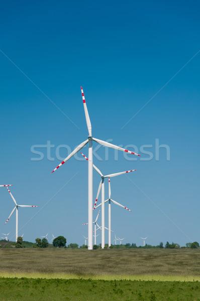 Turbina wiatrowa gospodarstwa wiejski teren niebieski przemysłowych Zdjęcia stock © tarczas