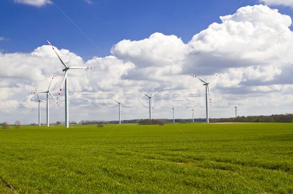 Szélturbinák farm tájkép zöld kék erő Stock fotó © tarczas