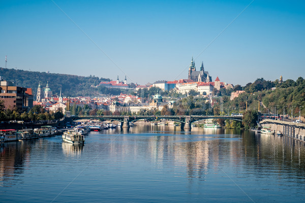 panorama of the city of Prague and Hradcany Stock photo © tarczas