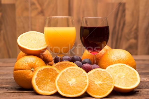 Friss narancs alma szőlőlé gyümölcsök fából készült Stock fotó © tarczas