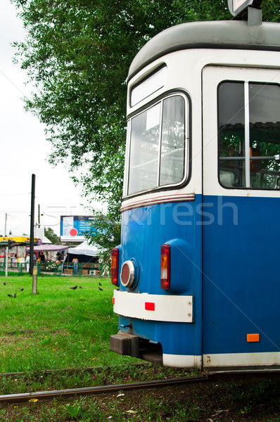 blue tram in the depot Stock photo © tarczas