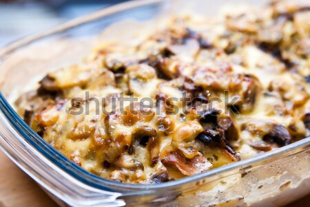 casserole with potato cheese and mushrooms Stock photo © tarczas