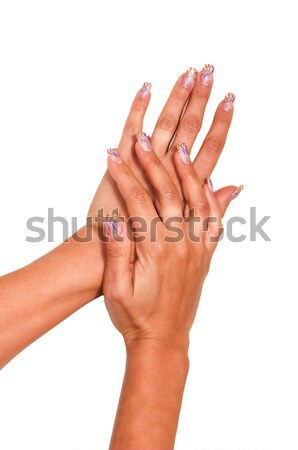 Multi-colored jelly sweets in the hands with a bright nail polish Stock photo © tarczas