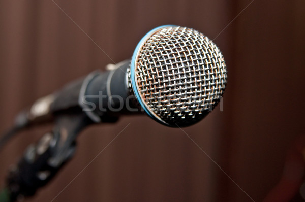 metal microphone on stage before show Stock photo © tarczas