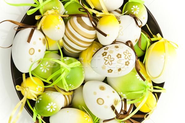 Húsvéti tojások húsvét tojás zöld ünnep ünneplés Stock fotó © tarczas