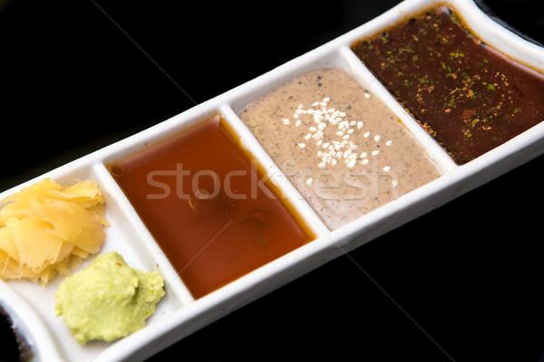 Japonês wasabi gengibre sushi prato cortar Foto stock © tarczas