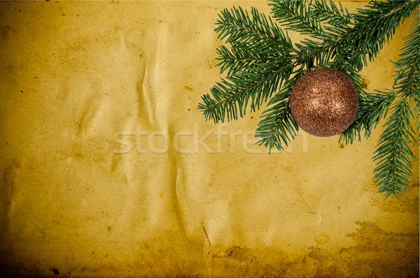 Christmas dekoracji starych skóry zielone piłka Zdjęcia stock © tarczas