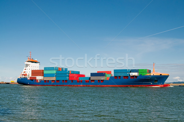 container ship coming into port Stock photo © tarczas