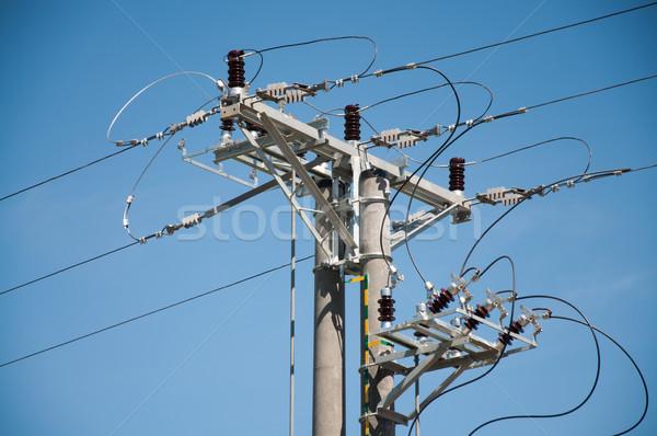 Elektrische Pol Zeilen Stock foto © tarczas
