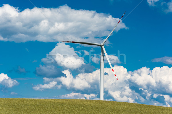 wind farm on rural terrain Stock photo © tarczas