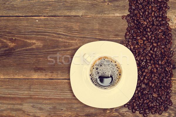 Kávé csésze fa asztal étel fa asztal Stock fotó © tarczas