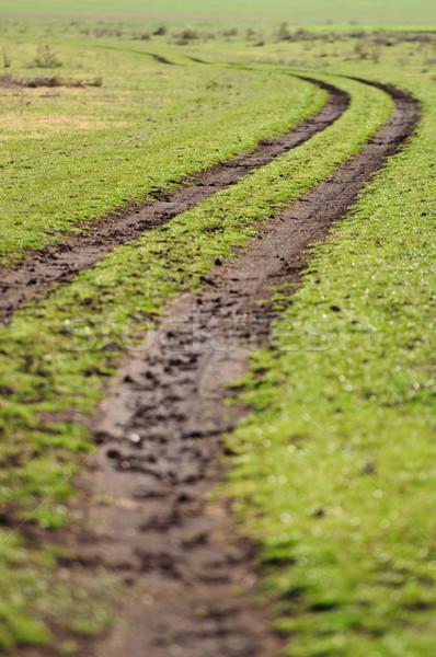 Onverharde weg veld wolken gras landschap groene Stockfoto © tarczas