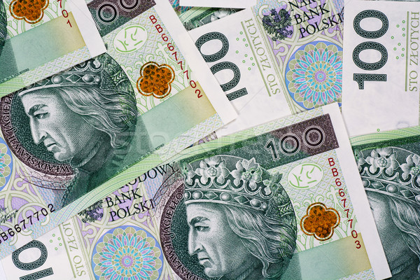 Background of 100 PLN (polish zloty) banknotes  Stock photo © tarczas