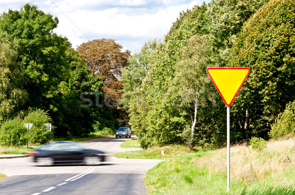yield sign near crossroad and rushing car Stock photo © tarczas