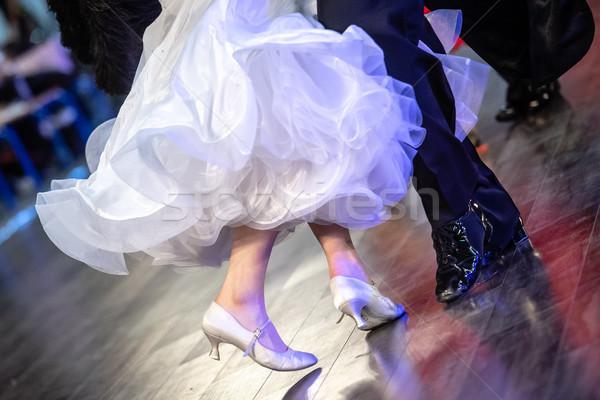 Közelkép bálterem táncosok lábak nő zene Stock fotó © tarczas