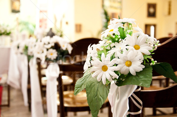 adorned  church before ceremony of the first holy communion Stock photo © tarczas