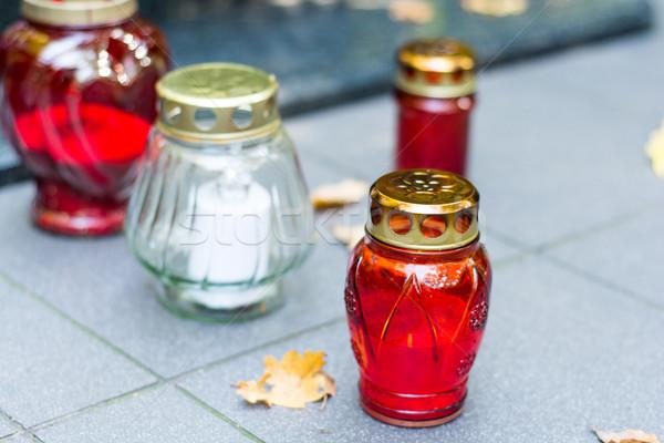 Świeca grobu czerwony lampy świece religii Zdjęcia stock © tarczas