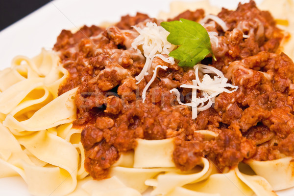 spaghetti bolognese with cheese Stock photo © tarczas