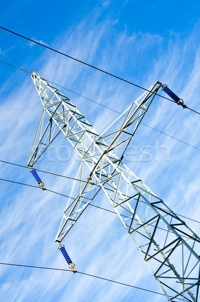 Pylon and transmission power line Stock photo © tarczas