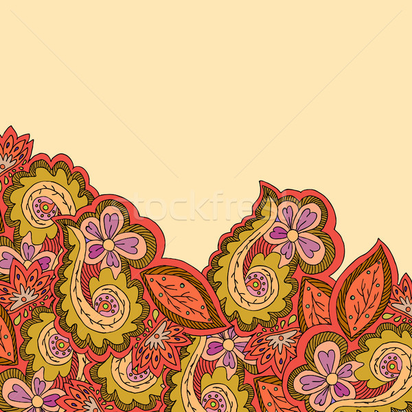 Decorative ornamental border with bright floral elements Stock photo © TarikVision