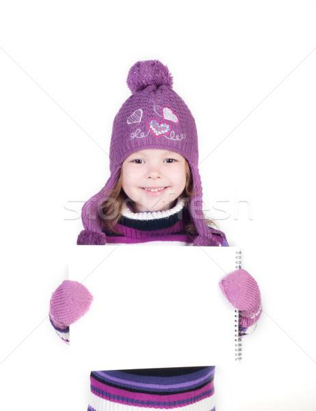 Sevimli küçük kız sıcak elbise boş Stok fotoğraf © TarikVision
