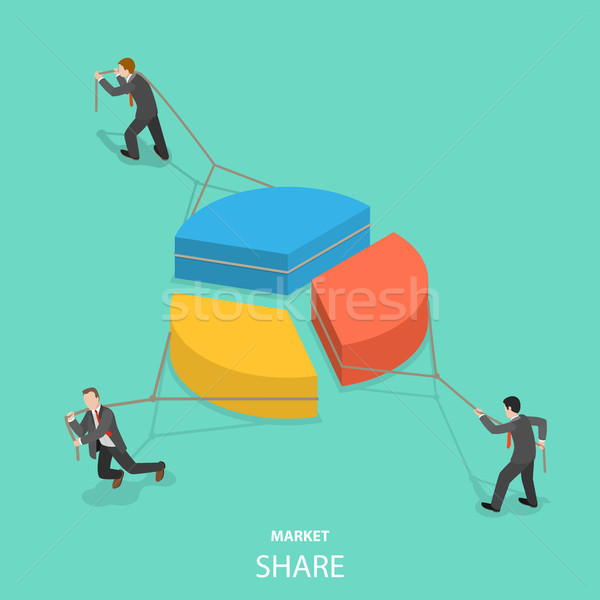 Market share flat isometric vector concept Stock photo © TarikVision