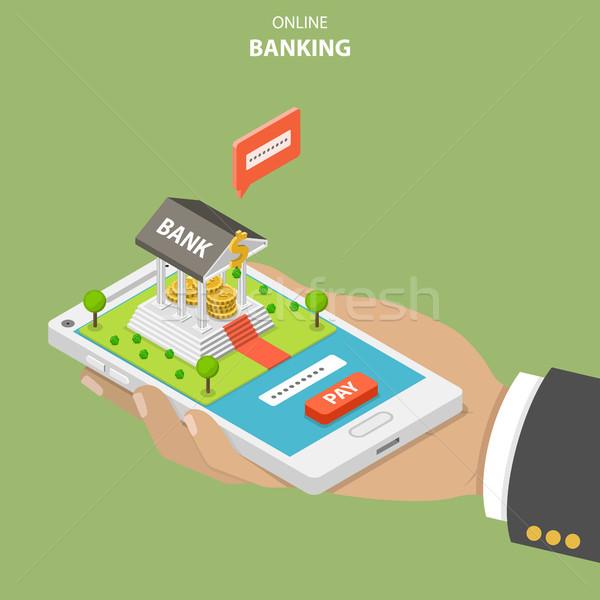 Online bancaire isometrische vector hand Stockfoto © TarikVision