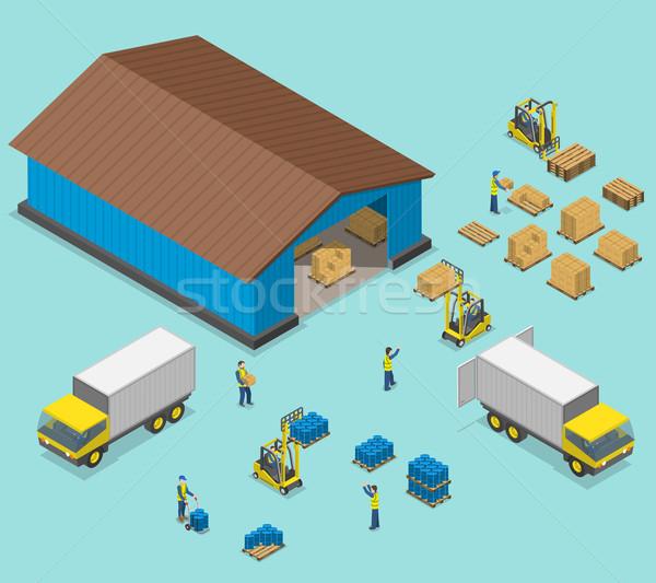 Warehouse isometric flat vector illustration.  Stock photo © TarikVision