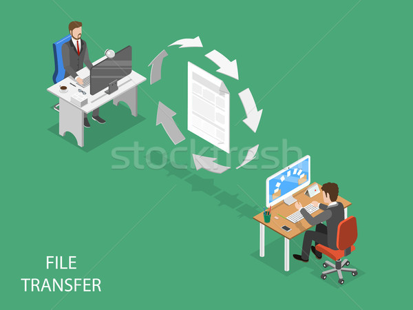 File transfer flat isometric vector concept. Stock photo © TarikVision