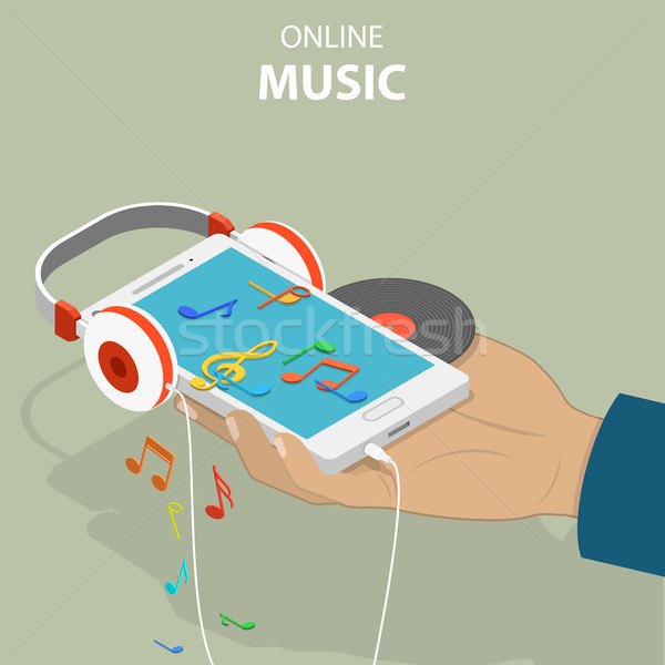 Mobile music isometric flat vector conceptual illustration. Stock photo © TarikVision