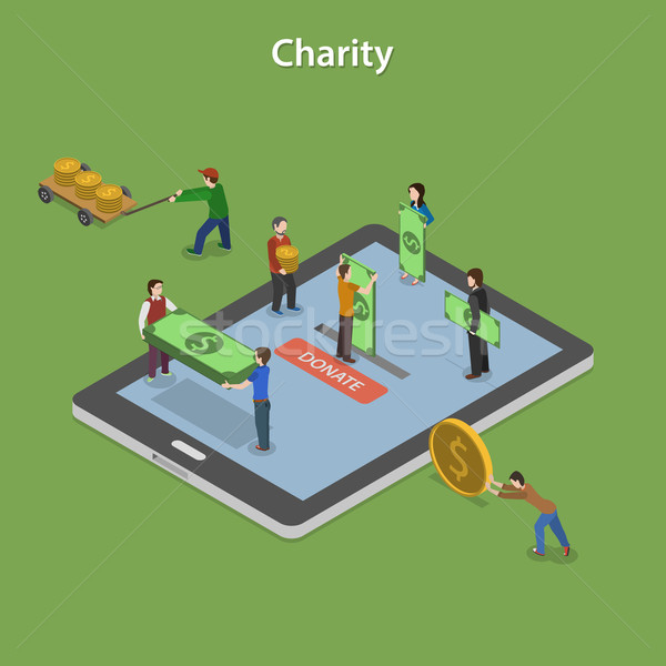 Charity Flat Isometric Vector Concept. Stock photo © TarikVision
