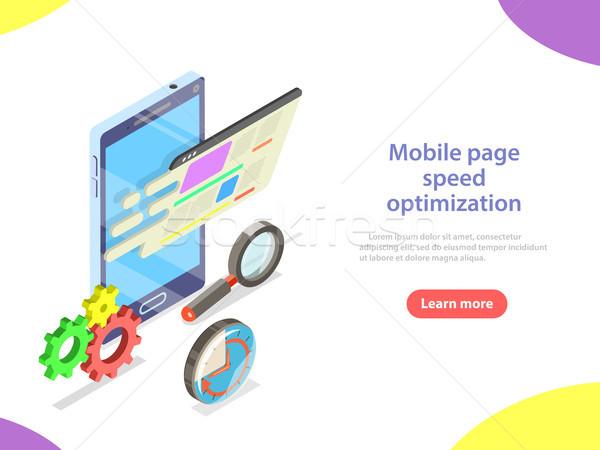 Mobiele pagina snelheid optimalisatie isometrische vector Stockfoto © TarikVision
