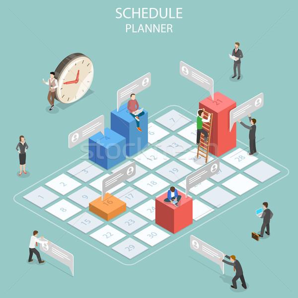 Schedule planner flat isometric vector concept. Stock photo © TarikVision
