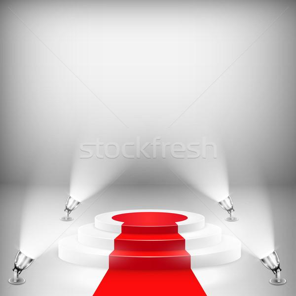 Verlicht podium rode loper beker tapijt witte Stockfoto © TarikVision