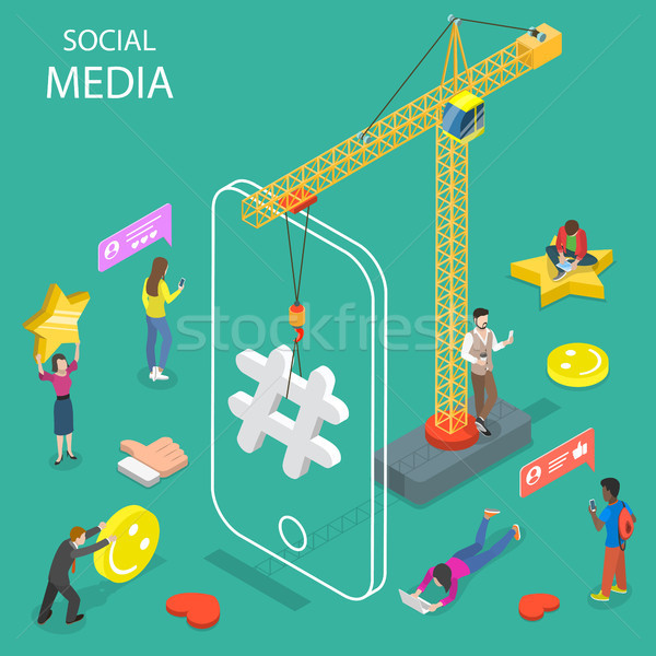 Social media isometrische vector netwerken internet Stockfoto © TarikVision