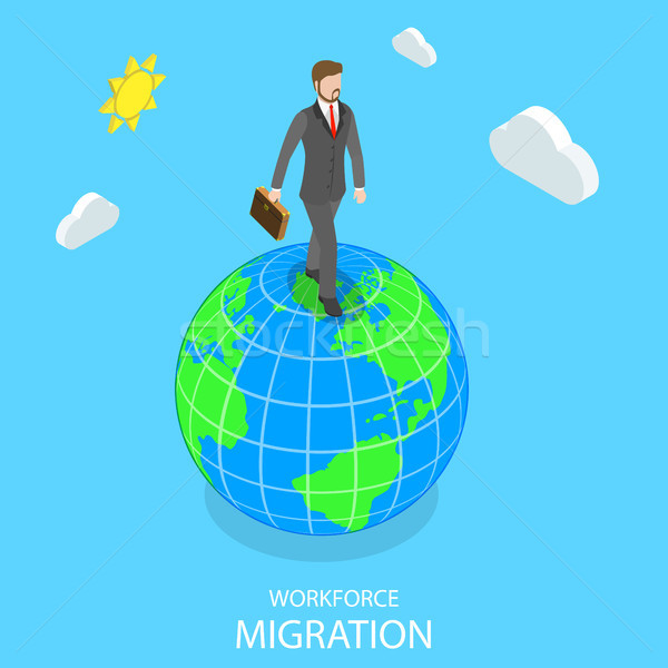 Workforce migration flat isometric vector concept. Stock photo © TarikVision
