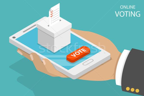 On-line votação isométrica vetor eleição internet Foto stock © TarikVision