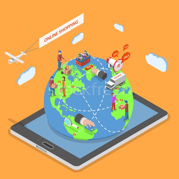 オンラインショッピング アイソメトリック ベクトル 人 周りに 世界 ストックフォト © TarikVision