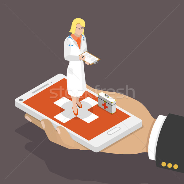 Online doctor flat isometric low poly vector concept Stock photo © TarikVision